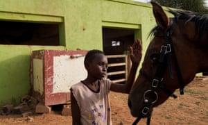 A boy pets a horse at the Equestrian Club in Khartoum, Sudan