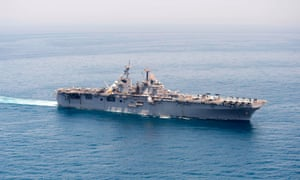 The US military shot down an Iranian drone on July 18, 2019 that came within 1,000 yards of one of its naval vessels in the Strait of Hormuz, President Donald Trump said.