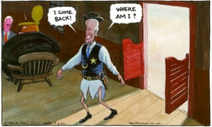 The Guardian's inimitable Steve Bell and his always-irreverent take - this time on Joe Biden swaggering/stumbling towards the nomination to take down the Trump-Pence ticket this November.