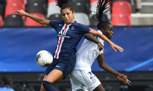 Nadia Nadim in action for PSG against Lyon this season.