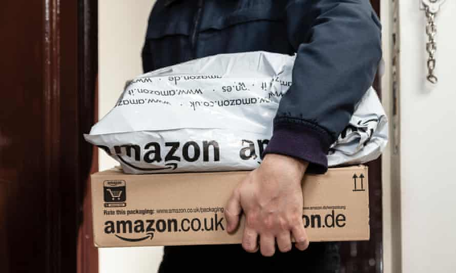 amazon parcels being delivered