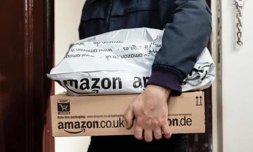 Postman brings amazon parcels