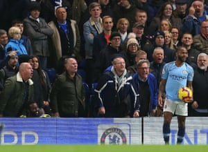 December 8: Raheem Sterling of Manchester City receives alleged abuse from Chelsea at Stamford Bridge.