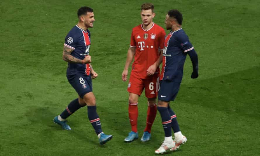 Neymar (right) and Leandro Paredes make their feelings known to Bayern Munich's Joshua Kimmich after Tuesday's game.