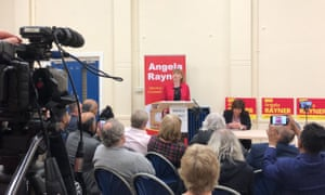 Angela Rayner launching her bid to become the deputy leader of the Labour party at an event in Stockport