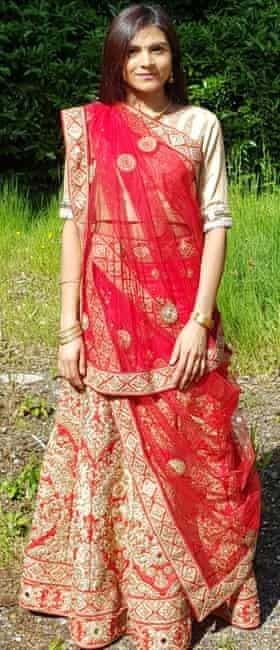 Sanji wearing her wedding lehenga, which she has reworn