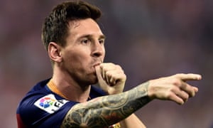 Lionel Messi celebrates his goal in Barcelona's win at Atlético Madrid.