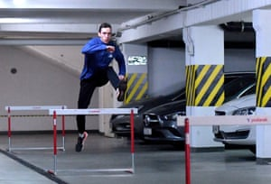 Polish athlete Patryk Dobek, a 400m hurdler, trains in the underground garage at his home in Szczecin.