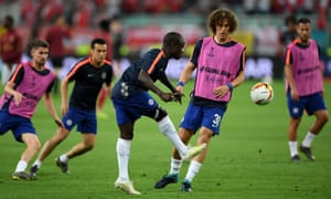 N'Golo Kante of Chelsea warms up ahead of kick-off.