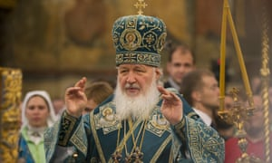 Russia's Patriarch Kirill conducts a religious service