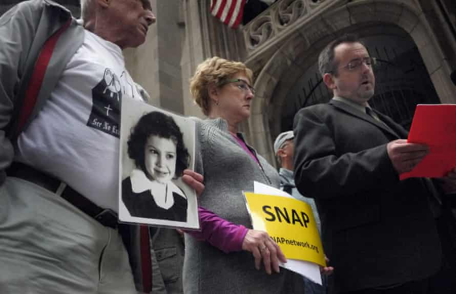 Members of the Survivors Network of those Abused by Priests hold a press conference in Chicago.