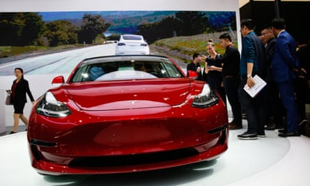 A Tesla Model 3 at an auto show in China.