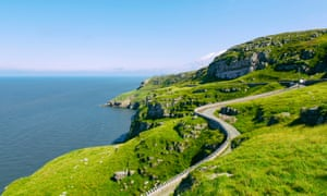 The winding road below the Great Orme.