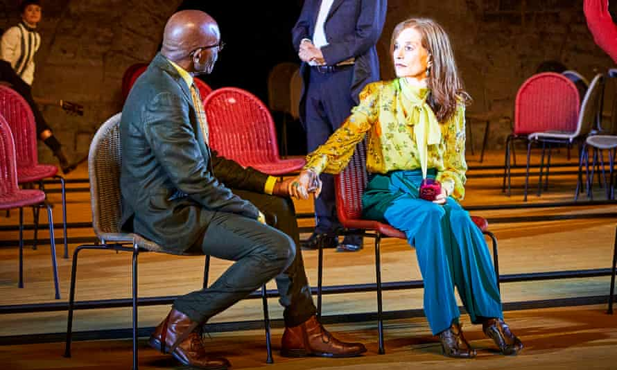 Shapeshifting show … Adama Diop with Isabelle Huppert in The Cherry Orchard.