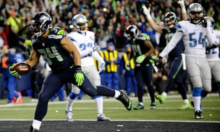 Seattle Seahawks running back Thomas Rawls (34) runs the ball in for a touchdown.