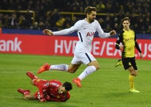 Llorente makes contact with Roman Buerki.