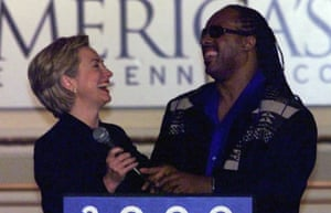 Hillary Clinton gets support from Stevie Wonder in 1998.