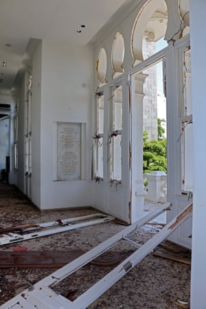 Inside the damaged museum building