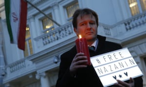 Richard Ratcliffe outside the Iranian embassy in London.