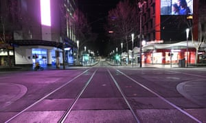 A general view of Bourke Street after a citywide curfew is introduced in Melbourne.