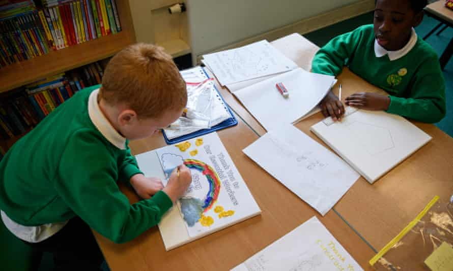 Pupils at Greenacres primary academy in Oldham in 2020.