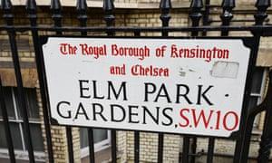 A street sign in Elm Park Gardens, west London
