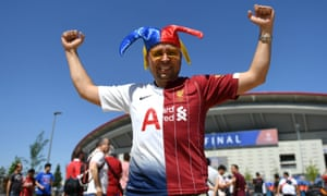 A fan with a half and half shirt before the 2019 Champions League final between  Tottenham Hotspur and Liverpool.
