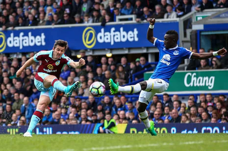 Joey Barton in action for Burnley against Everton in April 2017, his penultimate match before he was banned from football for 18 months after admitting a Football Association charge in relation to betting.