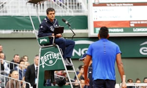 Nick Kyrgios and umpire Carlos Ramos clashed during the Australia's first-round victory over Marco Cecchinato at the French Open.