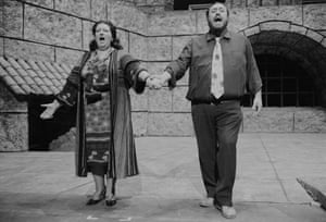 Montserrat Caballé, in the role of Floria Tosca, and Luciano Pavarotti, in the role of Mario Cavaradossi, in a rehearsal for a performance of Giacomo Puccini's Tosca at the San Francisco Opera House in 1979