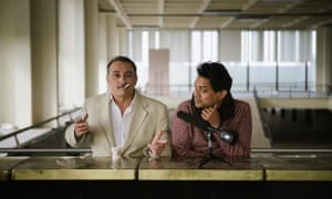 Naeem Mohaiemen, right, with Vassilis Koukalani, rehearsing the bar scene of Tripoli Cancelled in Athens, 2016.