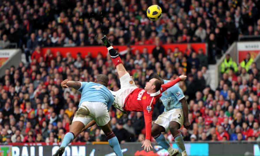 Rooney scores his spectacular overhead kick winner for Manchester United against Manchester City in February 2011.