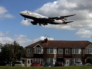 A British Airways Boeing 747 over houses in Bedfont, Hounslow, on its approach to Heathrow Airport.