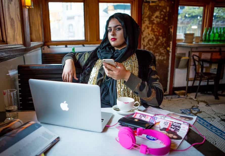 Amani Al-Khatahtbeh, founder of muslimgirl.net, in Brooklyn New York. Styling by Engie Hassan/Bloomingdales.