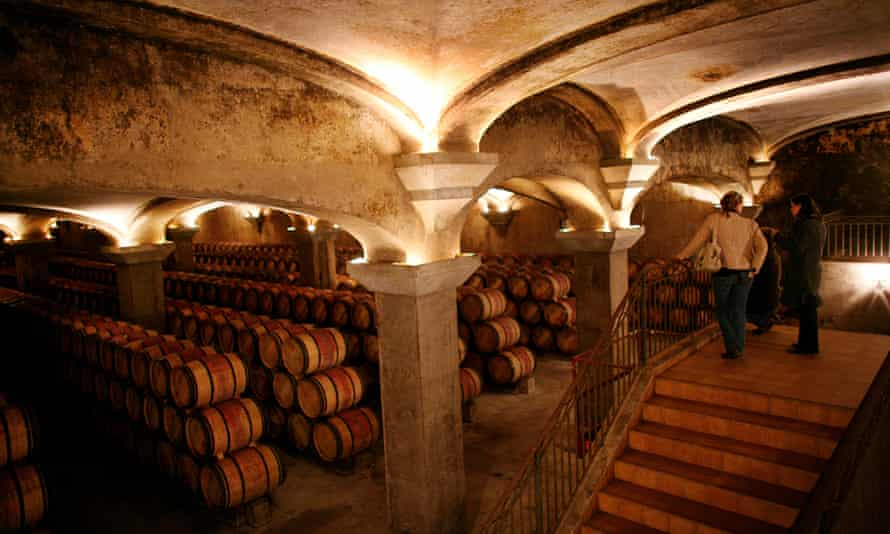 The vaulted wine cellar of Chateau Baron Philippe De Rothschild vineyard, Bordeaux, France. Commissioned