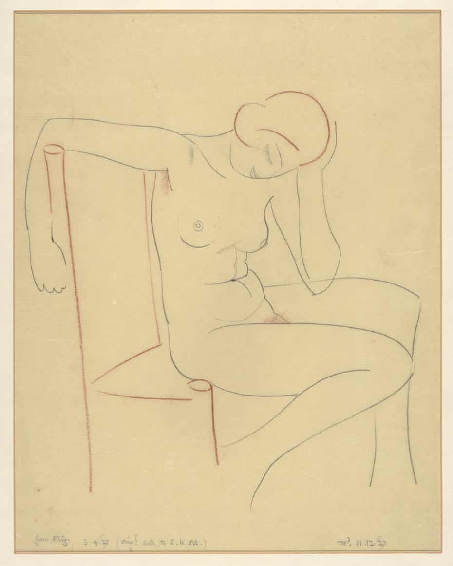 A nude sketch of Gill's daughter Elizabeth from 1927.