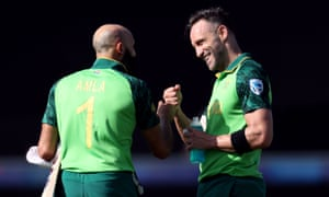Hashim Amla and Faf du Plessis have guided South Africa to just their second victory in the tournament.