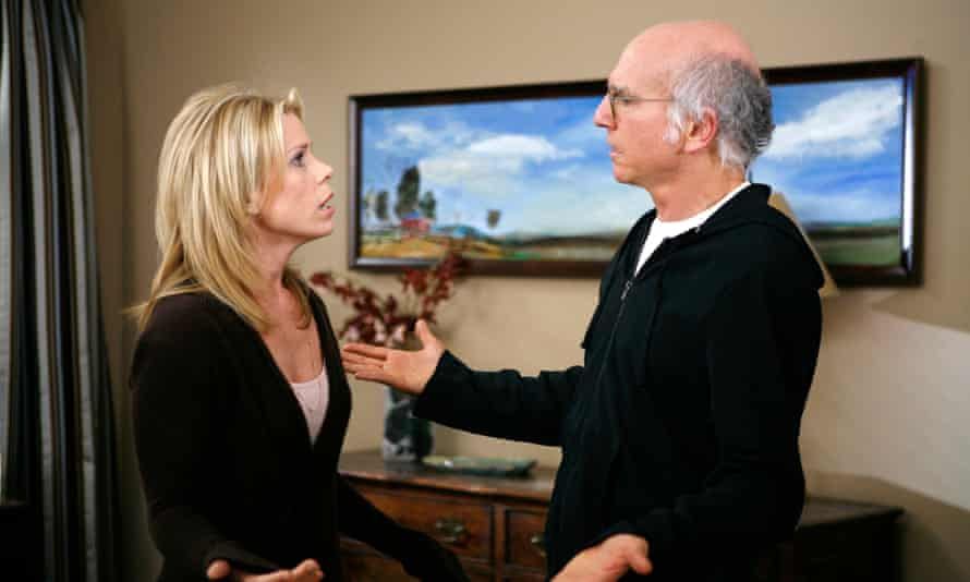 Cheryl Hines and Larry David in Curb Your Enthusiasm.