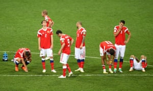 Players of Russia show their dejection following the defeat