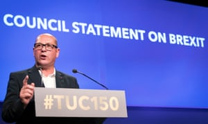Steve Turner delivers the general council statement on Brexit during the Trades Union Congress in Manchester.