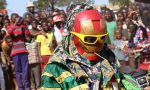 A performer at the Tumaini arts festival in Malawi.