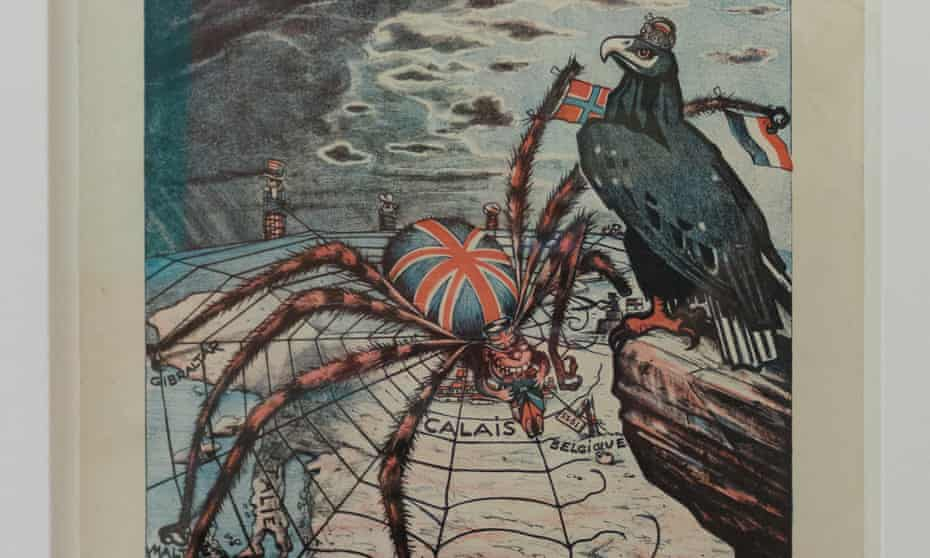 A 1915 German poster, entitled L'Entente Cordiale, depicting a British spider weaving a web over Europe.