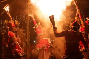 Colombo, Sri Lanka Dancers perform at a Gammaduwa performance, a traditional low country healing ritual