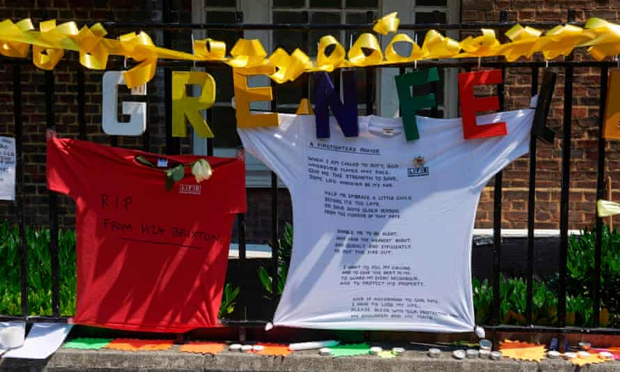 Messages on T-shirts in tribute to the victims of the Grenfell Tower fire