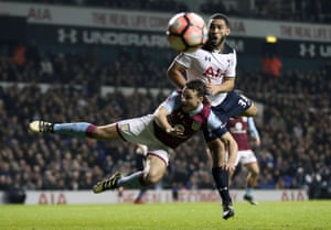 Tottenham Hotspur's Cameron Carter-Vickers and Aston Villa's James Chester battle for the ball as Spurs win 2-0 at White Hart Lane