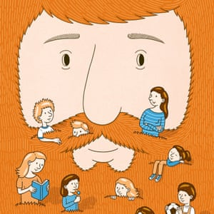 children in a father's beard