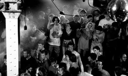 the Hacienda nightclub in 1989, the heart of the Mancunian Madchester scene.
