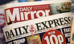 Mastheads of Daily Express and Daily Mirror