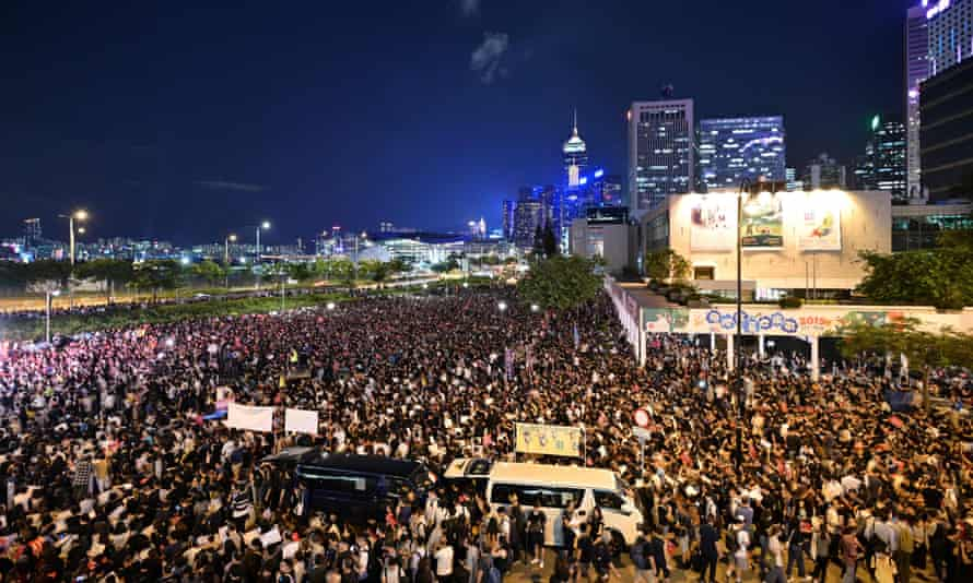 Protesters gather as they rally against the controversial extradition bill in Hong Kong