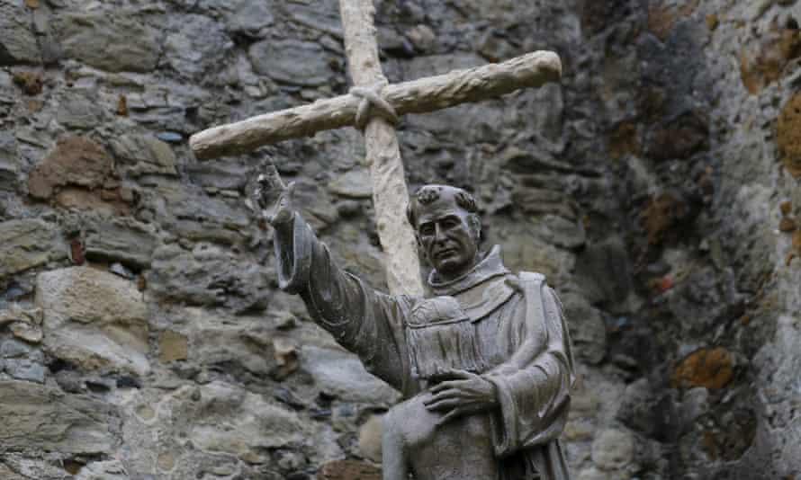 A statue of the 18th-century Spanish missionary Father Junipero Serra at Mission San Juan Capistrano, in California.